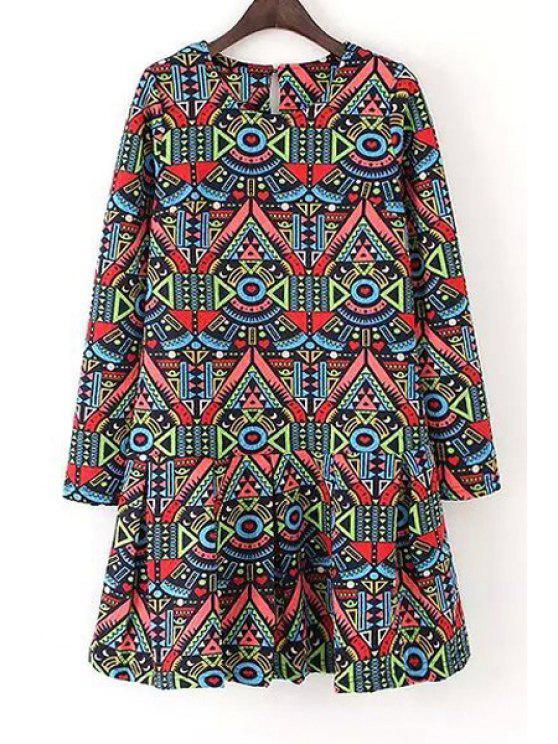 hot Colorful Geometric Print Long Sleeve Dress - COLORMIX S