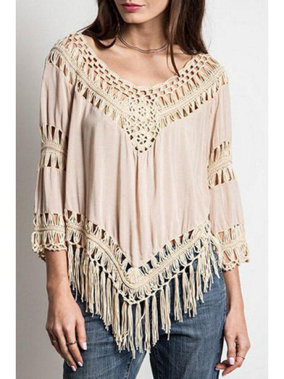 buy Tassels Hollow Out Solid Color Blouse - APRICOT ONE SIZE(FIT SIZE XS TO M)