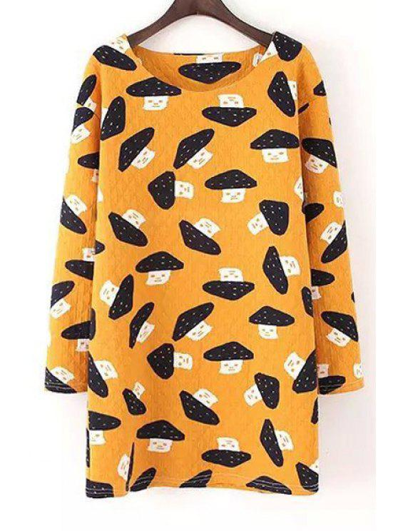 affordable Scoop Neck Mushroom Print Long Sleeve Dress - YELLOW S