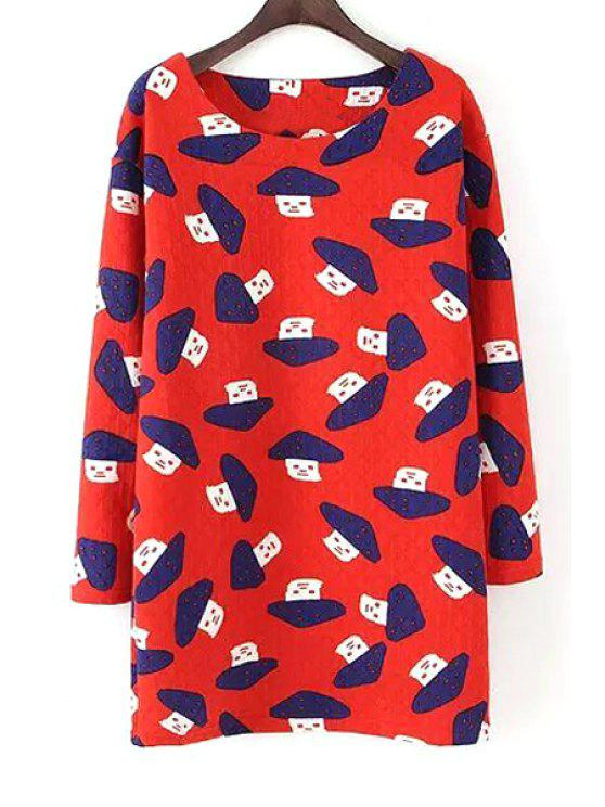 lady Scoop Neck Mushroom Print Long Sleeve Dress - RED S