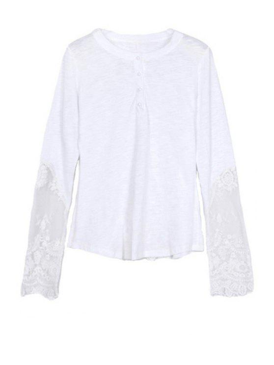 fashion Openwork Lace Splicing Long Sleeve T-Shirt - WHITE S