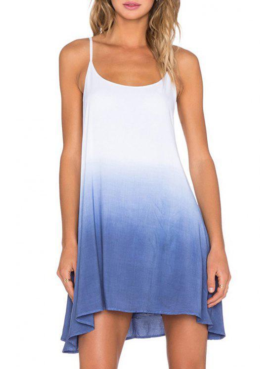 sale Color Block Cami A Line Dress - BLUE S