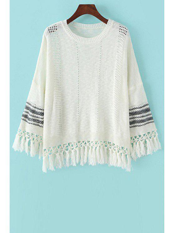 hot Stripe Tassel Splicing Long Sleeve Sweater - WHITE ONE SIZE(FIT SIZE XS TO M)