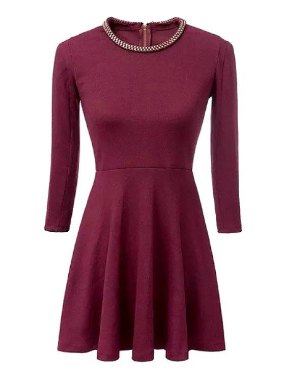 outfits Sequined Embellished 3/4 Sleeve Dress - RED S