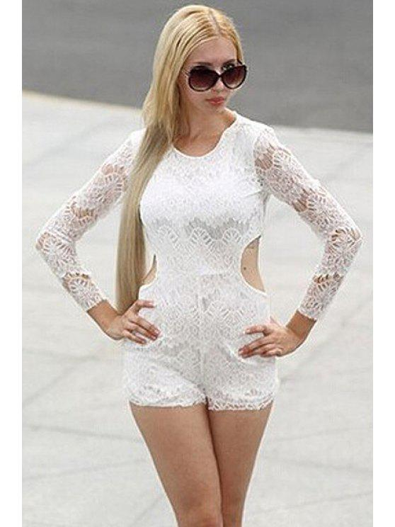 ladies Long Sleeve Cut Out Lace Playsuit - WHITE S