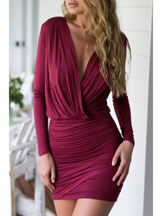 chic Wine Red Long Sleeve Bodycon Dress - WINE RED S