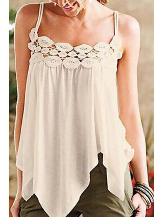 affordable White Cami Lace Spliced Tank Top - WHITE S