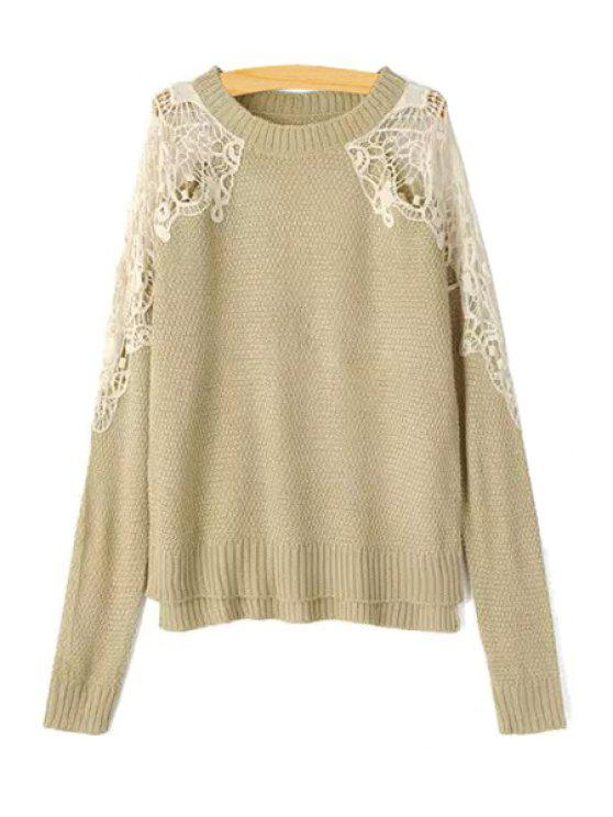 trendy Lace Splicing Openwork Long Sleeve Sweater - KHAKI L