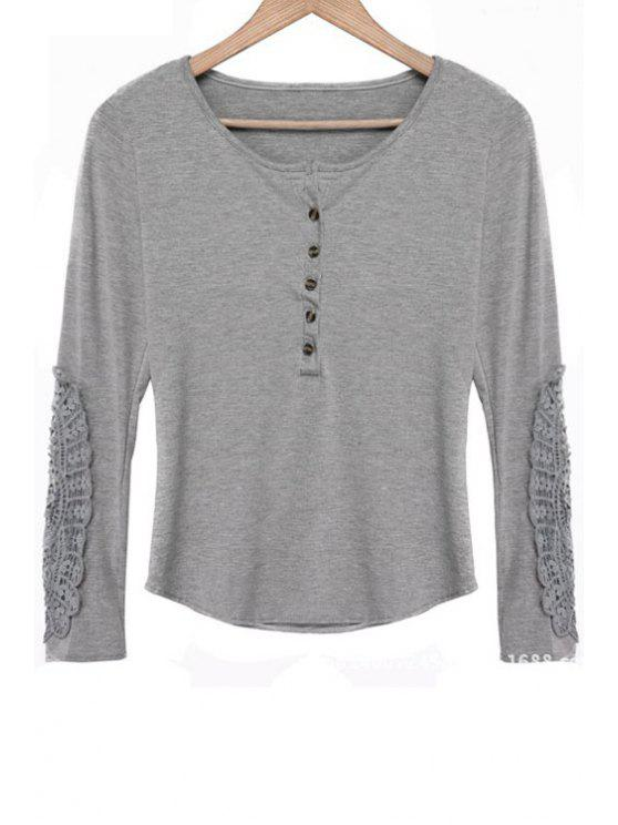 sale Lace Spliced Scoop Neck Long Sleeves T-Shirt - GRAY XL