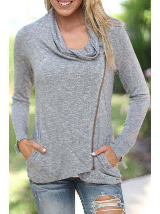 buy Gray Heaps Collar Long Sleeve Coat - GRAY M