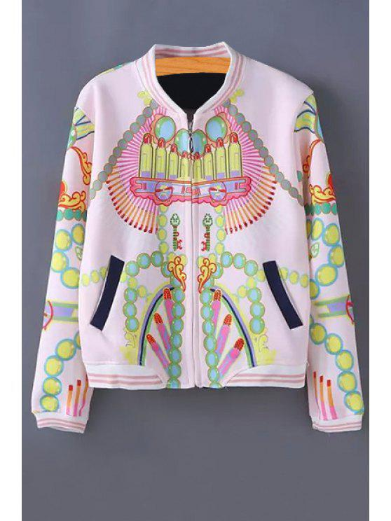 affordable Stand-Up Collar Color Block Printed Jacket - LIGHT PINK ONE SIZE(FIT SIZE XS TO M)