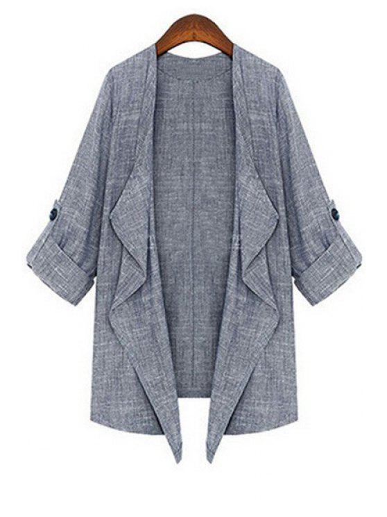 women Gray Turn Down Collar 3/4 Sleeve Coat - GRAY S
