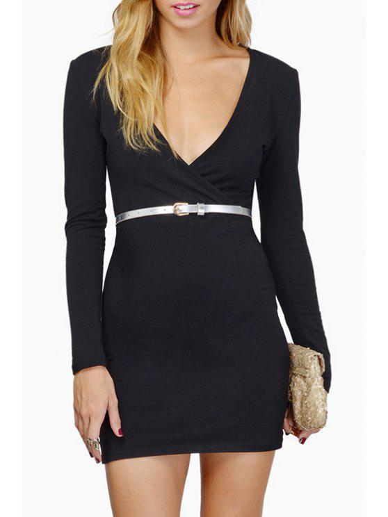 ladies Plunging Neck Long Sleeve Bodycon Dress - BLACK XL