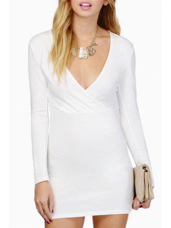 online Plunging Neck Long Sleeve Bodycon Dress - WHITE M