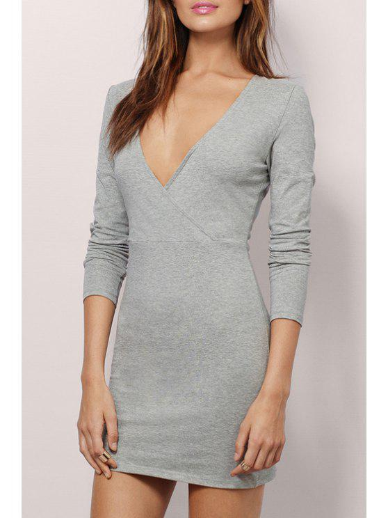 shop Plunging Neck Long Sleeve Bodycon Dress - GRAY M