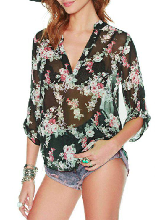 women Floral 3/4 Sleeve See-Through Blouse - BLACK S