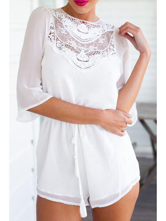 unique Backless Tie-Up Half Sleeve Playsuit - WHITE S