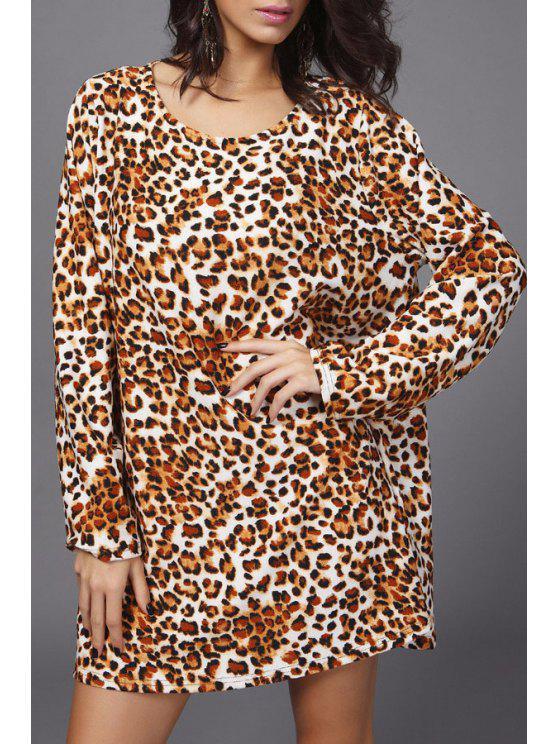 latest Leopard Pattern Long Sleeve Dress - LEOPARD ONE SIZE(FIT SIZE XS TO M)