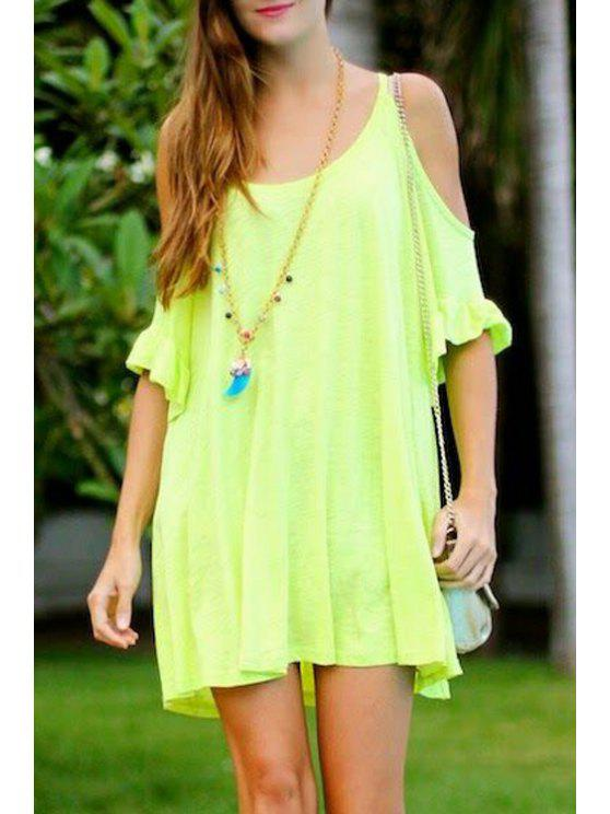 outfit Solid Color Half Sleeve Cut Out Dress - NEON GREEN S