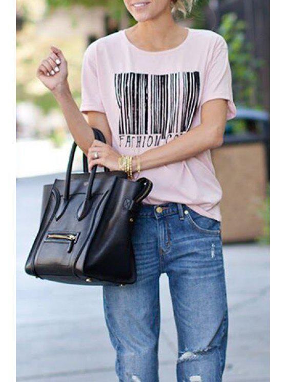 affordable Barcode Print Short Sleeve T-Shirt - PINK S
