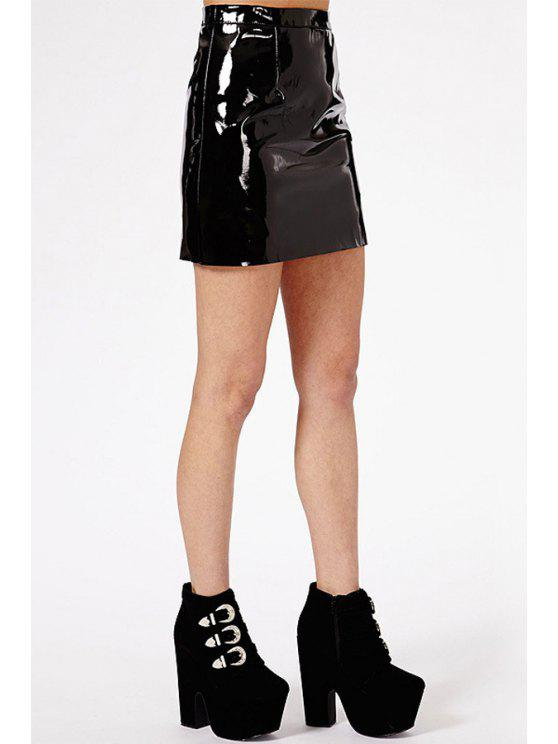 hot Packet Buttocks Faux Leather Skirt - BLACK S
