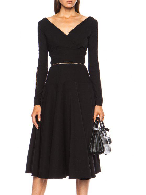 chic Black Backless Openwork Long Sleeve Dress - BLACK S