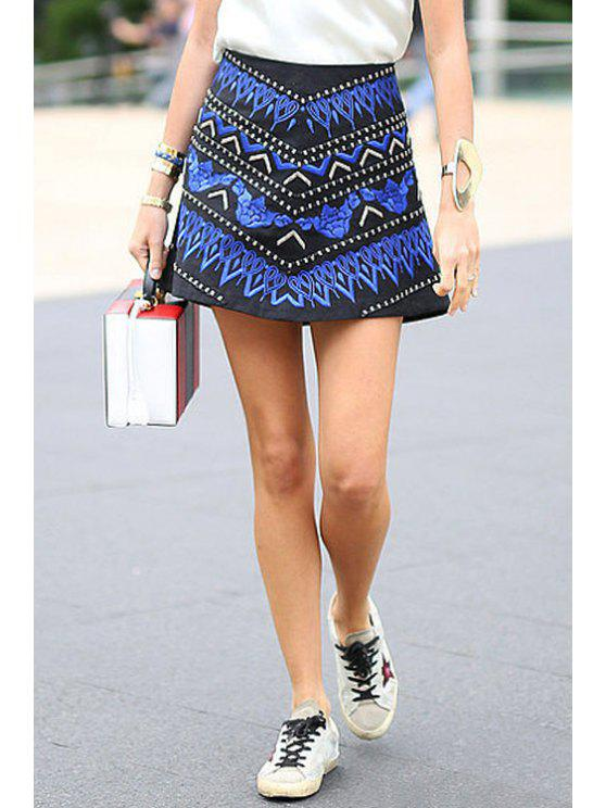 fashion Color Block Embroidery Skirt - AS THE PICTURE S