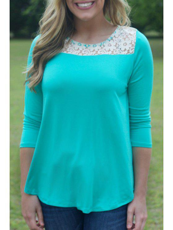 women Lace Spliced Jewel Neck Long Sleeve T-Shirt - GREEN S