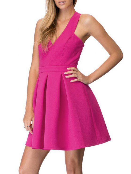 best Crisscross Back A-Line Dress - ROSE 2XL