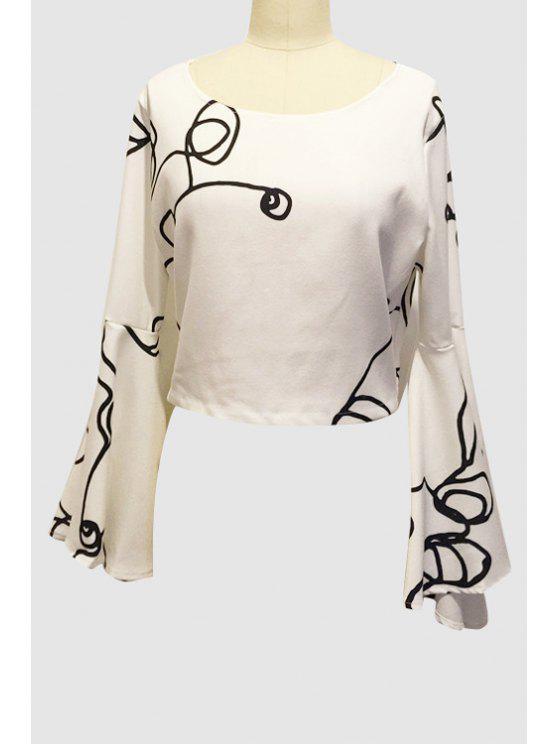 ladies Black Stripe Print Long Sleeve Crop Top - WHITE S