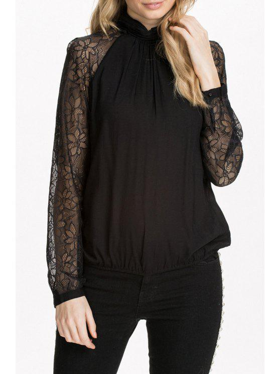 womens Long Sleeve Lace Spliced Black Blouse - BLACK S