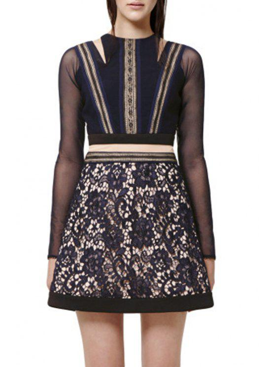 affordable Floral Lace See-Through Long Sleeve Dress - PURPLISH BLUE ONE SIZE(FIT SIZE XS TO M)