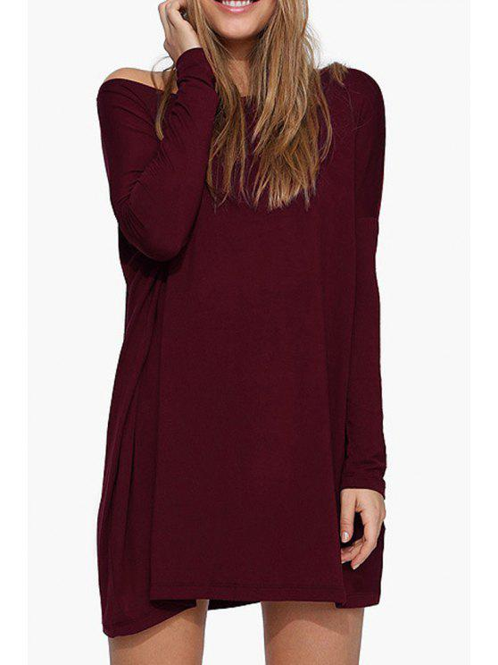 hot Boat Neck Loose Fitting Dress - WINE RED XL