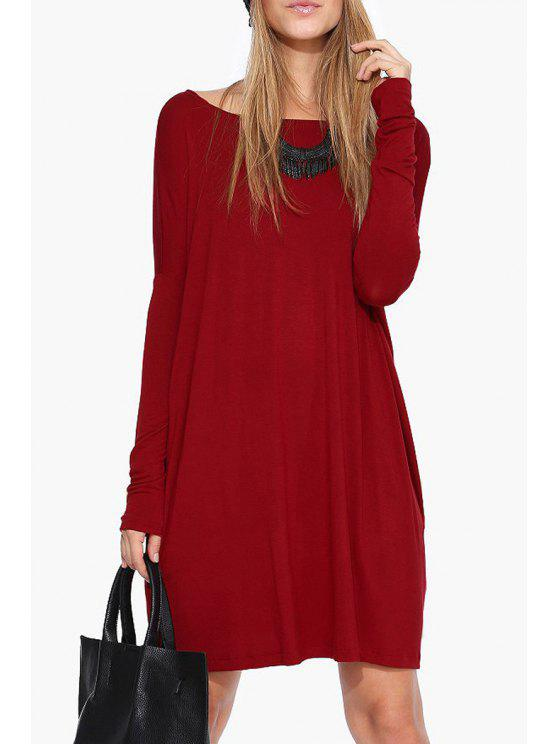affordable Boat Neck Loose Fitting Dress - RED 2XL