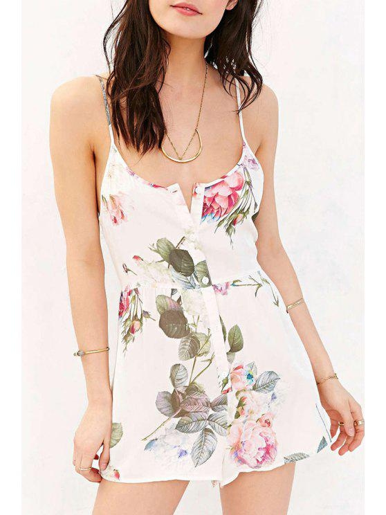 fashion Spaghetti Strap Floral Single-Dreasted Romper - WHITE S