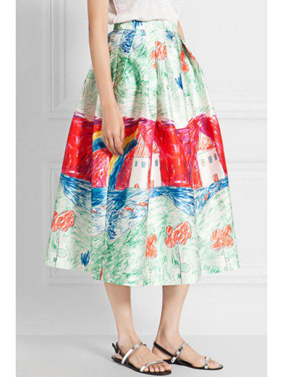 online Colorful Scrawl Print Skirt - RED AND GREEN S