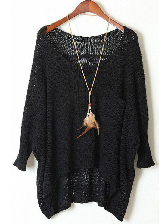 latest Open Knit Scoop Neck Oversized Sweater - BLACK ONE SIZE(FIT SIZE XS TO M)