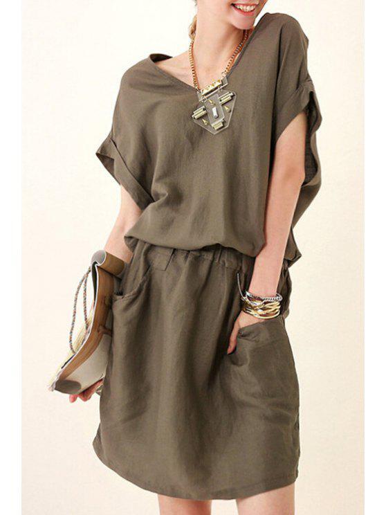 unique Solid Color Elastic Waist Pocket Dress - KHAKI S