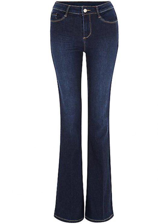 hot Blue Faded Flared Jeans - DEEP BLUE M