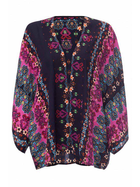 shop Collarless Floral Print Loose-Fitting Kimono Blouse - BLACK