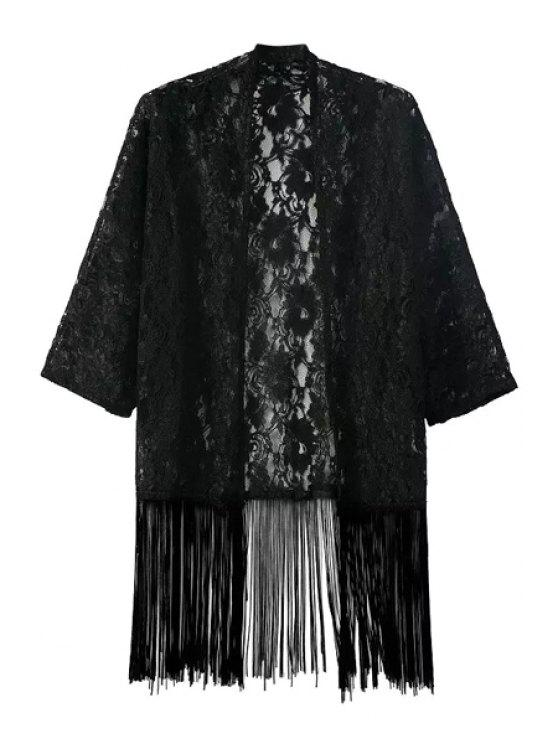 women See-Through Floral Lace Half Sleeve Kimono - BLACK S