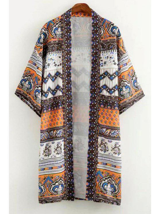 trendy Vintage Print 3/4 Sleeve Kimono - WHITE AND BLACK M