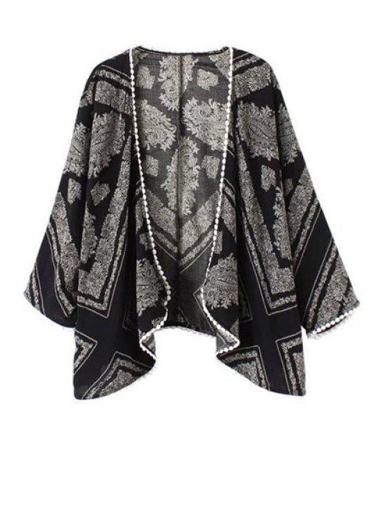 womens Lace Edging Paisley Print Long Sleeve Blouse - BLACK AND GREY S