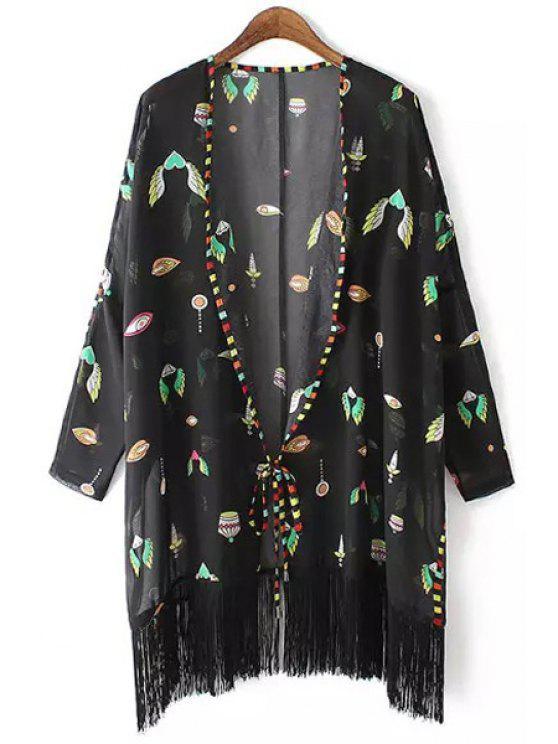 Kimono en mousseline à manches longues - Noir L