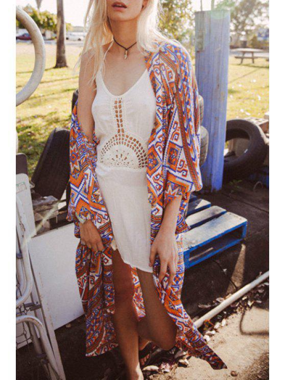 Blusa del kimono de la impresión geométrica sin cuello - Colores Mezclados XL
