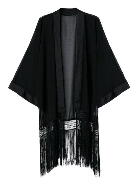 online Black Collarless Long Sleeve Kimono - BLACK S