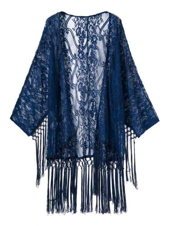 Kimono à encolure à manches longues - Bleu Foncé S