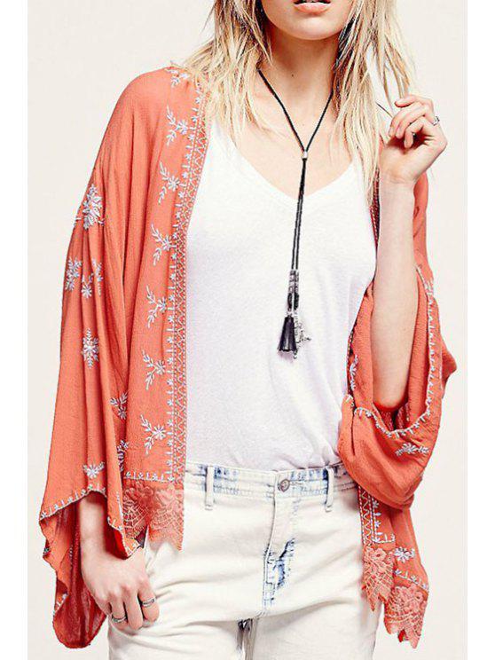 Chemisier en kimono brodé à manches longues - Tangerine S