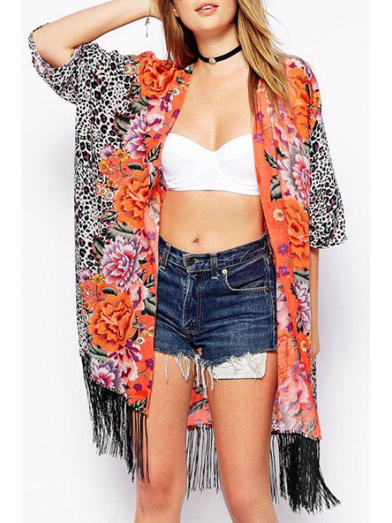 women Leopard Print Half Sleeve Kimono - LEOPARD S