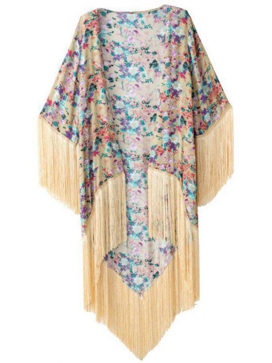 women Floral Print Half Sleeves Kimono - AS THE PICTURE M